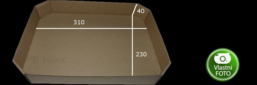 Kartonový tácek 310x230x40 mm